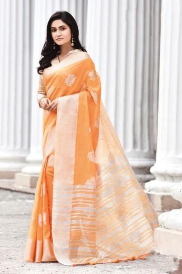 Optimum Weaving Work Orange Linen Fabric Designer Saree And Blouse