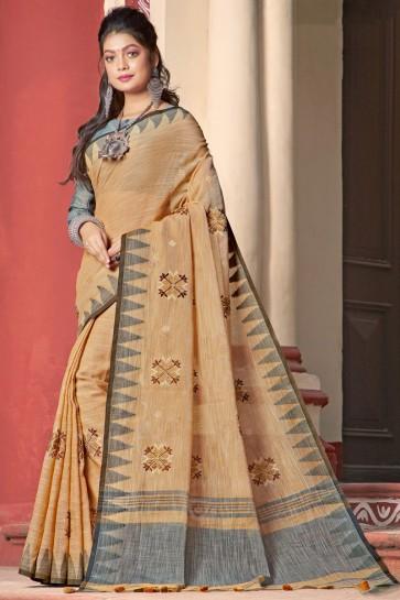 Stunning Beige Linen Fabric Designer Weaving Work Saree And Blouse