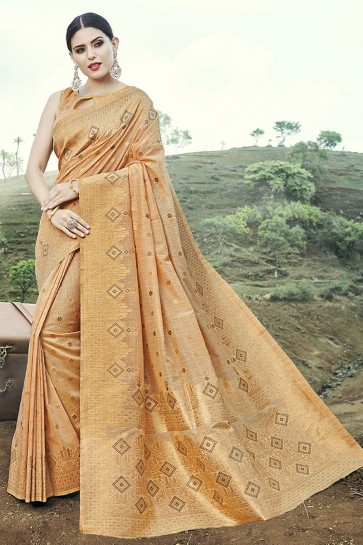 Banarasi Silk Fabric Peach Weaving With Jacquard Work Designer Saree With Blouse