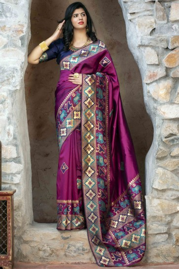 Optimum Weaving Work Navy Blue Patola Silk Fabric Designer Saree With Blouse