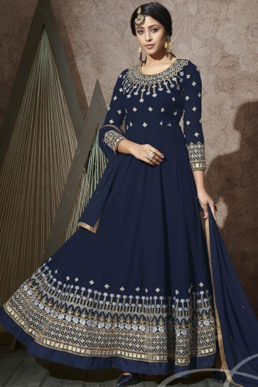 Navy Blue Georgette Embroidered Stone Work Abaya Style Anarkali Suit With Chiffon Dupatta