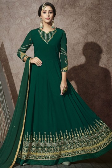 Green Georgette Embroidered Stone Work Abaya Style Anarkali Suit With Chiffon Dupatta