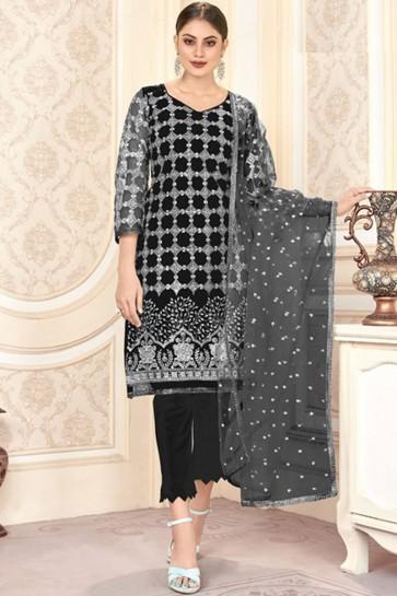 Embroidered Mirror Work Black Net Fabric Salwar Kameez With Dupatta
