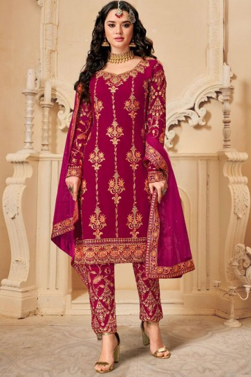 Pink Embroidered Georgette Fabric Salwar Suit With Dupatta