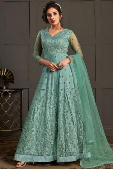 Net Sky Blue Embroidered Thread Work Designer Salwar Suit With Dupatta