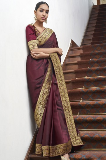 Optimum Weaving Lace Work Maroon Silk Fabric Designer Saree With Blouse