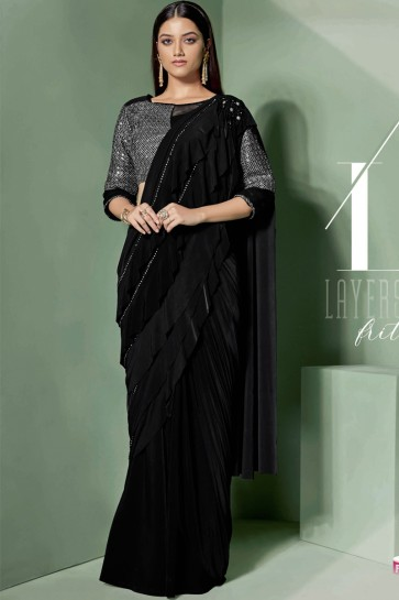 Black Fancy Fabric Embroidered Thread Work Designer Saree With Blouse