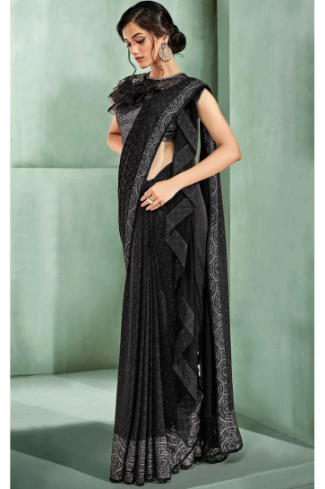 Fancy Fabric Embroidered Thread Work Designer Black Saree With Blouse