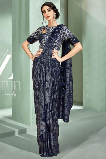 Optimum Embroidered Thread Work Navy Blue Fancy Fabric Designer Saree With Blouse