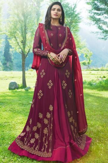 Prachi Desai Maroon Georgette and Satin Embroidered Anarkali Salwar Suit With Nazmin Dupatta