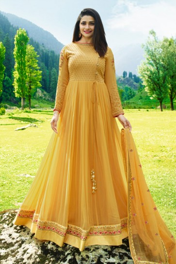 Prachi Desai Classic Yellow Faux Georgette Embroidered Anarkali Salwar Suit With Nazmin Dupatta