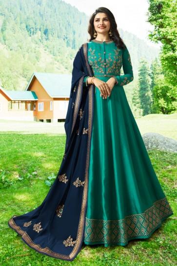 Prachi Desai Excellent Teal Art Silk Embroidered Anarkali Salwar Suit With Nazmin Dupatta