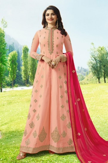 Prachi Desai Embroidered Peach Art Silk Anarkali Salwar Suit With Nazmin Dupatta