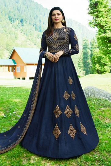 Prachi Desai Navy Blue Art Silk Embroidered Anarkali Salwar Suit With Nazmin Dupatta