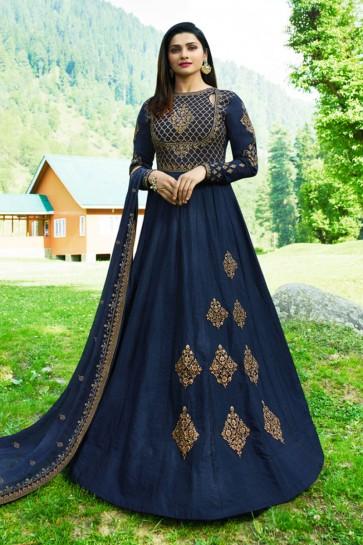 Prachi Desai Navy Blue Art Silk Embroidered Anarkali Salwar Suit With Nazmin Dupatta