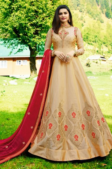Prachi Desai Optimum Beige Art Silk and Jacquard Embroidered Anarkali Salwar Suit With Nazmin Dupatta