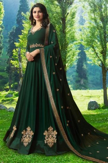 Prachi Desai Admirable Green Georgette Embroidered Anarkali Salwar Suit With Nazmin Dupatta