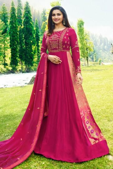 Prachi Desai Pink Georgette Embroidered Anarkali Salwar Suit With Nazmin Dupatta