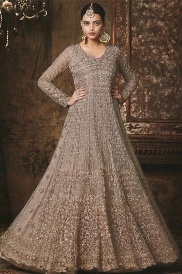 Ultimate Beige Net Embroidered Anarkali Salwar Suit With Nazmin Dupatta