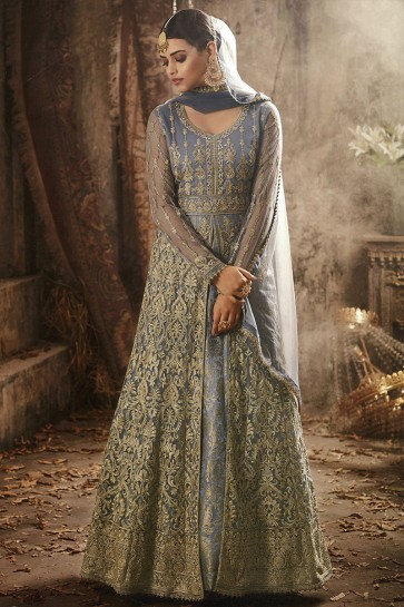 Embroidered Grey Net Anarkali Salwar Suit With Nazmin Dupatta