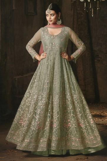 Green Net Embroidered Anarkali Salwar Suit With Nazmin Dupatta