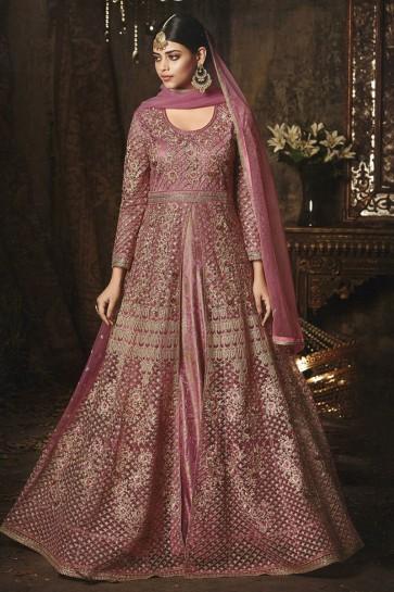 Charming Pink Net Embroidered Anarkali Salwar Suit With Nazmin Dupatta
