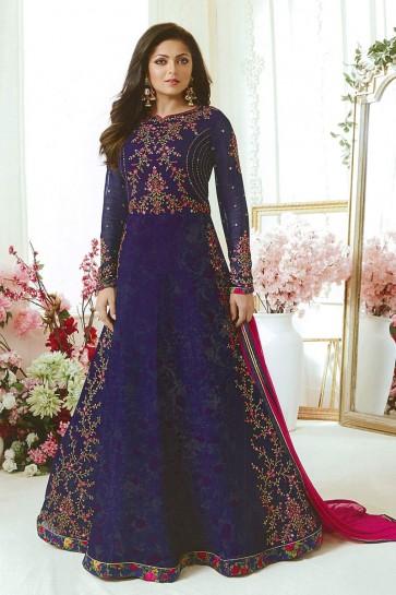Drashti Dhami Gorgeous Navy Blue Georgette Embroidered Anarkali Salwar Suit With Nazmin Dupatta