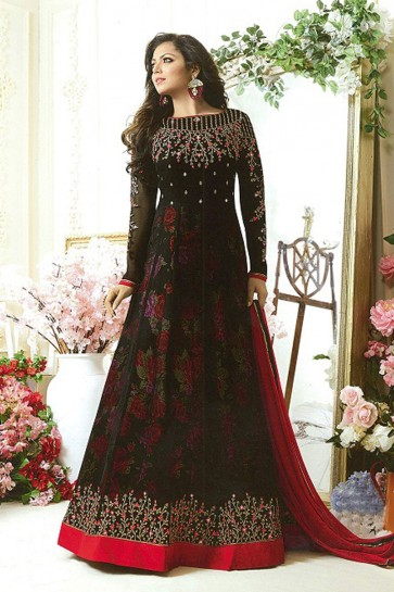 Drashti Dhami Beautiful Black Georgette Embroidered Anarkali Salwar Suit With Nazmin Dupatta
