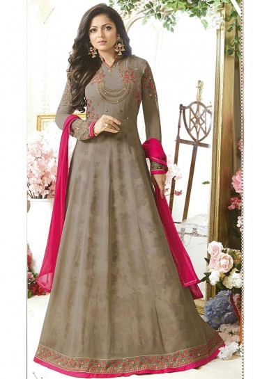 Drashti Dhami Embroidered Grey Georgette Anarkali Salwar Suit With Nazmin Dupatta