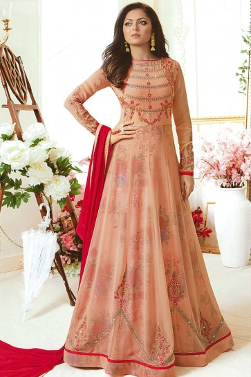 Drashti Dhami Desirable Peach Georgette Embroidered Anarkali Salwar Suit With Nazmin Dupatta