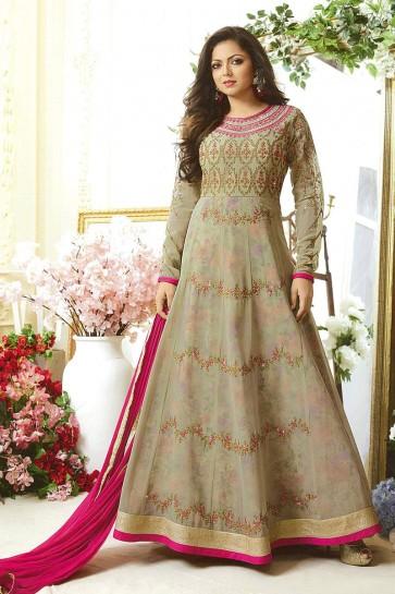 Drashti Dhami Admirable Beige Georgette Embroidered Anarkali Salwar Suit With Nazmin Dupatta