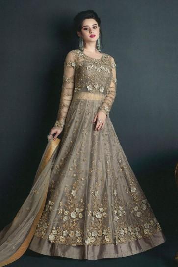 Beautiful Beige Net Embroidered Anarkali Salwar Suit With Net Dupatta