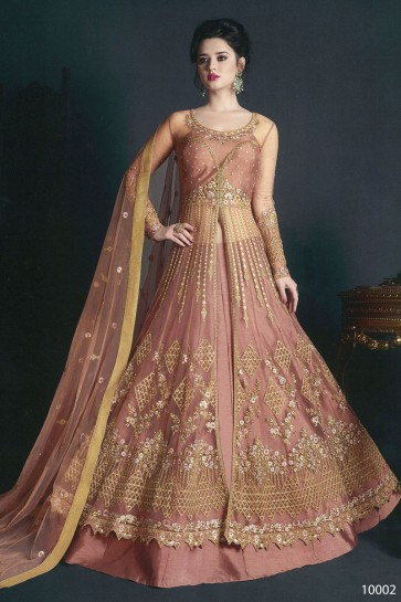 Peach Net Embroidered Anarkali Salwar Suit With Net Dupatta