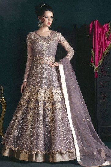 Purple Net Embroidered Anarkali Salwar Suit With Net Dupatta