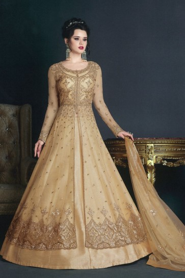 Lovely Beige Net Embroidered Anarkali Salwar Suit With Net Dupatta