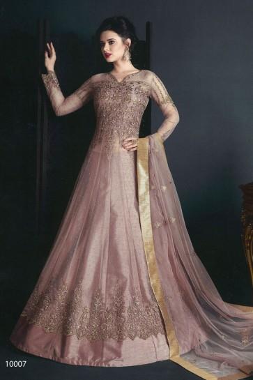 Pink Net Embroidered Anarkali Salwar Suit With Net Dupatta