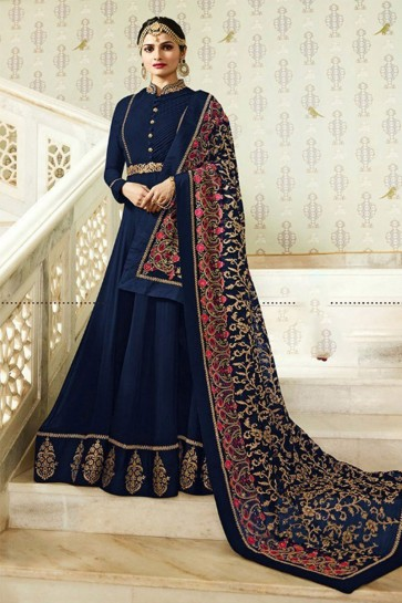 Prachi Desai Desirable Navy Blue Faux Georgette Embroidered Anarkali Salwar Suit With Nazmin Dupatta