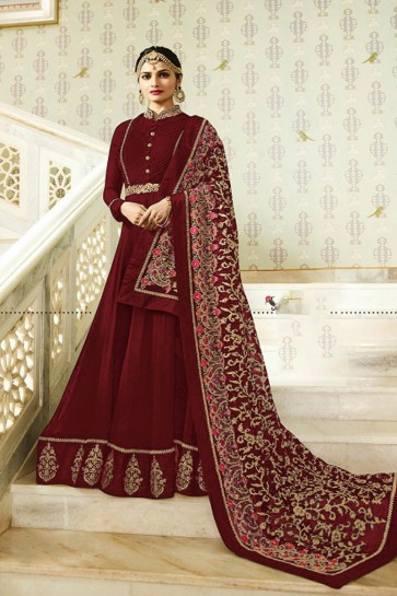 Prachi Desai Excellent Maroon Faux Georgette Embroidered Anarkali Salwar Suit With Nazmin Dupatta