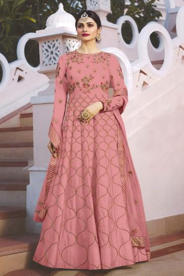 Prachi Desai Embroidered Pink Satin Anarkali Salwar Suit With Nazmin Dupatta