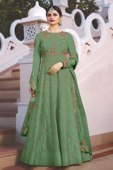 Prachi Desai Supreme Green Satin Embroidered Anarkali Salwar Suit With Nazmin Dupatta