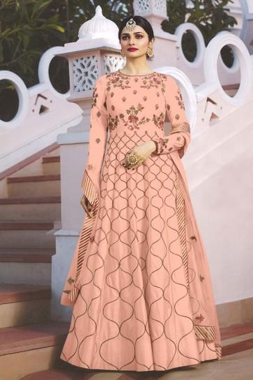 Prachi Desai Peach Satin Embroidered Anarkali Salwar Suit With Nazmin Dupatta