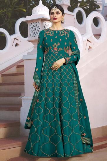 Prachi Desai Teal Satin Embroidered Anarkali Salwar Suit With Nazmin Dupatta