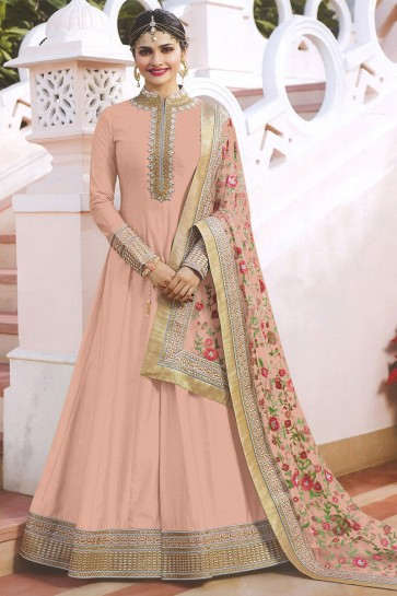 Prachi Desai Peach Satin Embroidered Anarkali Salwar Suit With Chiffon Dupatta