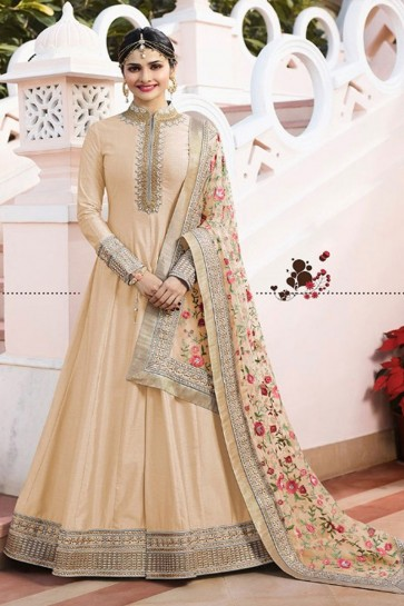 Prachi Desai Charming Cream Satin Embroidered Anarkali Salwar Suit With Chiffon Dupatta