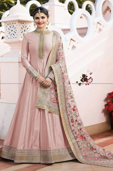 Prachi Desai Pink Satin Embroidered Anarkali Salwar Suit With Chiffon Dupatta