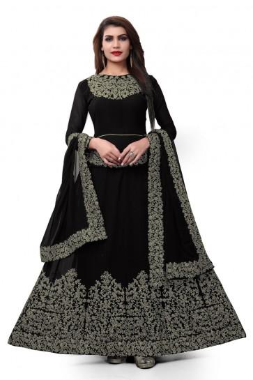 Gorgeous Black Faux Georgette Embroidered Designer Anarkali Salwar Suit With Nazmin Dupatta
