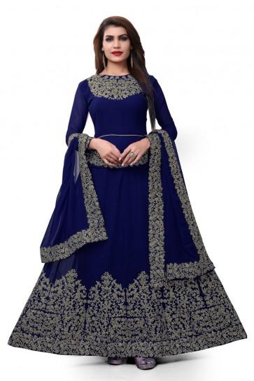 Embroidered Blue Faux Georgette Embroidered Designer Anarkali Salwar Suit With Nazmin Dupatta