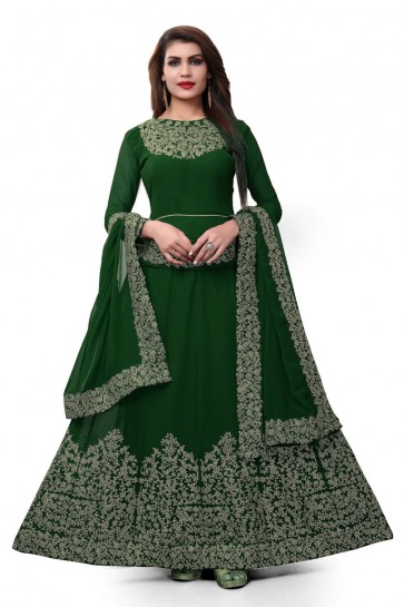 Green Faux Georgette Embroidered Designer Anarkali Salwar Suit With Nazmin Dupatta