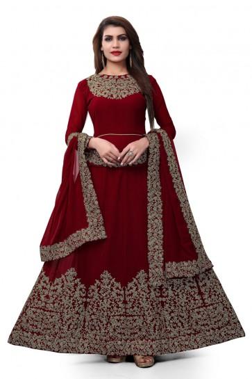 Maroon Faux Georgette Embroidered Designer Anarkali Salwar Suit With Nazmin Dupatta