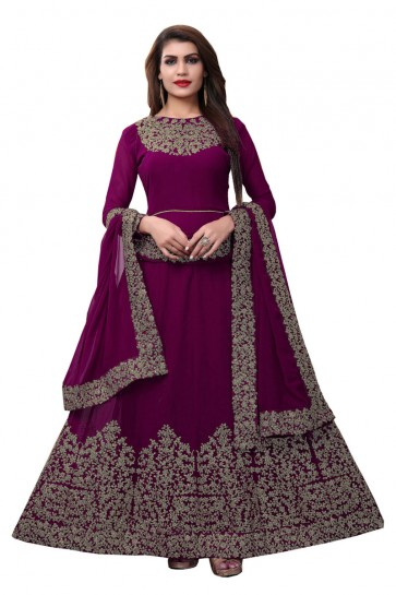 Optimum Purple Faux Georgette Embroidered Designer Anarkali Salwar Suit With Nazmin Dupatta